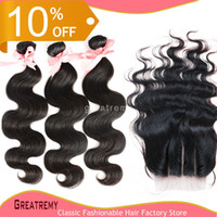 Wholesale Brazilian Malaysian Peruvian Virgin Hair Extensions Natural Color Body Wave PC Way Part Top Lace Closure quot x4 quot With Hair Bundles
