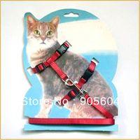 Wholesale Pet Cat Adjustable Nylon Lead Leash Collar Harness Red Kitten Belt Safety Rope