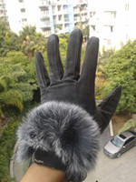 Wholesale fashion double thick warm women s winter gloves Angora rabbit women leather gloves
