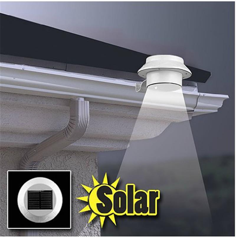 outdoor solar powered 3 led light fence roof gutter garden yard wall