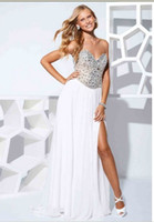 Wholesale Affordable Beaded A line Sweetheart White Empire Strapless Split Front Prom evening formal Dresses Terani P1529