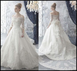 Wholesale Charming Vintage Wedding Gowns A Line Off Shoulder Ivory Organza Appliques Cathedral Train Wedding Dresses Bridal Gowns
