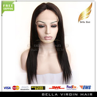 Wholesale 8 quot quot Lace Wig Brazilian Virgin Hair b Color Silky Straight Hair Medium Cap Hair Wigs New Star Hair Bellahair