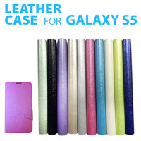 For Samsung bag samples - new arrives S5 case Multi Color Silk Grain Folio Folding Case PU Leather Flip Stand Cover Skin with Card Bag for Samsung Galaxy S5