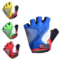 M half finger gloves - 2014 New PROTECT Cycling Gloves Bike Bicycle half Finger Gloves red blue Yellow Black M XL