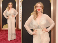 Wholesale 2014 The th Oscars Awards Red Carpet Dresses Charming Deep V Neck Sheer Long Sleeves Full Beaded Long Julie Delpy Celebrity Evening Gowns