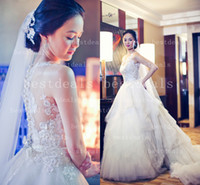 Lace Sheer high neck wedding dresses 2014 Illusion back A- Li...