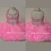 Wholesale 2014 Cute Organza Halter Top Beaded Short Pageant Dress With Ruffles Pink Little Rosie Cupcake Pageant Gowns For Girls SR303