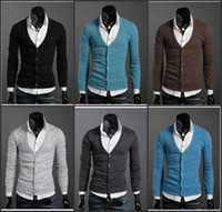 Wholesale Fashion Solid Color Men s Leisure Knitwear V Neck Long Sleeve Single Breasted Cotton Blended Colors Korean Style Men s Sweaters E217