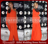 Reference Images beyonce dresses - Beyonce Dress Unique One Shoulder Single Sleeve A line Sweep Train Orange Chiffon Special Occasion Evening Dresses Gowns