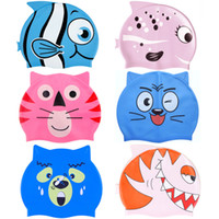 Wholesale High quality non slip silicone waterproof super cute cartoon shape children s swimming cap multi style high elastic