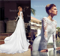 2014 Sheer Long Sleeve A Line Wedding Dresses Court Train La...