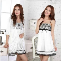 Wholesale New arrival Sexy Women Twinset Lace Pajama Set Strap Sleep Night Dress Nightwear Sleepwear White D