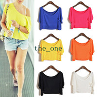 Wholesale Lady Casual Loose Candy Color Batwing Sleeve Crop Top Blouse Tops party beach