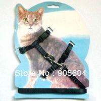 Wholesale Hot Selling Black Nylon Pet Cat Kitten Belt Adjustable Harness Lead Leash Pet Supplies Cats Dog Leashes