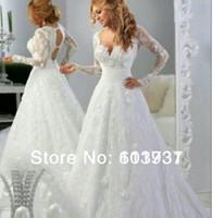 A-Line Reference Images V-Neck 2014 Vintage Arabic Long Sleeve Wedding Dresses V Neck Empire Waist Backless vestidos de novia Sheer Lace A-line Bridal Gowns BO4687