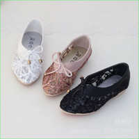 Wholesale Children Pu Leather Shoes Beaded Lace Girls Dress Shoes white pink black color Kids Casual Shoes size