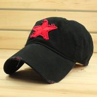 Wholesale Cap red five pointed star baseball cap summer male women s cap military cap hat sun hat