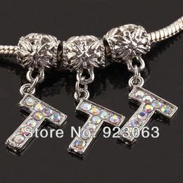 Wholesale 20pcs lot AB Rhinestone Alphabet Letter T 18K Plated European Spacer Charm Beads Fit Bracelet ,Diy Jewelry Accessories