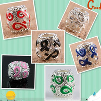 Fashion awareness bracelets colors - Mixed Colors Enamel Ribbon Awareness Large Hole Charms Beads Loose Spacers For European Bracelet x10mm