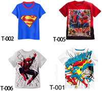 Boys popular superman Spider- Man t shirt children cotton sho...