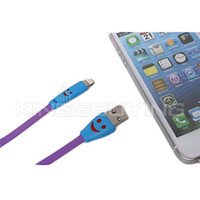 Wholesale 1M Smiling Flowing Current Charger Lightning Cable with LED for iPhone s c iPad Mini iPad