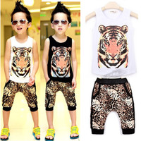 Unisex Spring / Autumn Sleeveless Girls boys suits leisure sports fashion set vest+harem pants 2013 summer new children's clothing suits baby infant wear leopard