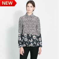 Women 100% Linen Regular New Women 2013 dudalina Shirt Long Sleeve Shirt Women Blusa de renda Chiffon Lace Camisa Feminina floral print wt403