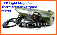 Wholesale 100pcs Outdoor In1escape tools rescue whistle LED Light Magnifier Thermometer Compass mirror