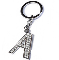 alphabet keychains - 120Pcs A Z quot Alloy Alphabet Letter Keyring Full Rhinestone Key Chain DIY Accessories