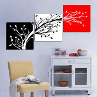 More Panel Fashion Landscape 3 Panel Hot Sell Modern Wall Painting Home Decorative Art Picture Paint on Canvas Prints Black, white and red background of trees