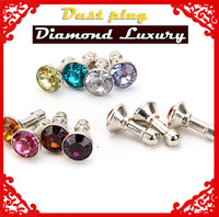 Wholesale Luxury Diamond Earphone Headphone anti Dust plug dust Cap for iphone4 s for iphone s for samsung for for mm plug