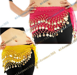 Wholesale 100 Colors Rows Gold or silver Coins Belly Egypt Dance Hip Skirt Scarf Wrap Belt Costume