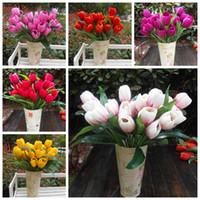 Wholesale 12Pcs cm quot Length Six Colors Artificial Silk Flowers Simulation Tulip Bouquets Nine Flower Head Bridal Bouquet Home Decoration