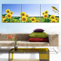 beautiful birds pictures - 3 Panel Hot Sell Modern Wall Painting Home Decorative Art Picture Paint on Canvas Print The beautiful sunflower and the branches of the bird