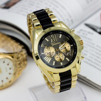 Wholesale 1PCS Unisex Luxury GENEVA Ceramic Quartz Watch Fashion Stainless Steel Classic Dress Wristwatches Watches H07 HongKong Post