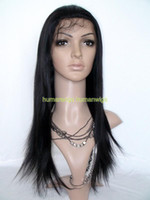 african jet - Full Lace Wig inch Silky Straight Jet Black Indian Remy Hair African American Wigs