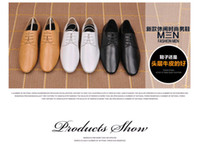 Lace-Up Men Spring and Fall Wholesale and retail new spring tide flat with recreational leather shoes men pointed han edition men's shoes in British business breathable