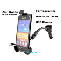 Wholesale Universal Car Holder Car Mount Bracket Mobile Phone Holder Stand With FM Transmitter Hands Free Car Kit For Samsung S4 S3 Galaxy Note