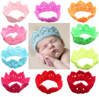 Wholesale Crochet Crowns For Babies - 2014 boys and girls handmade crochet ribbon crown crown tiara for children baby headband baby head flower crown color mixing 20pcs lot