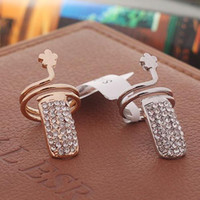 Women's art nouveau rings - Fashion Twisted Pave Rhinestone Finger Nail Ring Tip Jewelry Art Nouveau Online Rings For Women Gold and Silver Gift