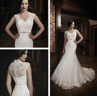 Wholesale 2013 Sexy New Scoop Collar Cap Sleeves Lace Mermaid Wedding Dresses Beaded Waistband Court Train Bridal Gowns With Buttons Back JA