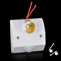 Wholesale 6pcs Hot Sale White AC V V Infrared IR Motion Sensor Automatic Light Lamp Bulb Holder Stand Switch TK1348