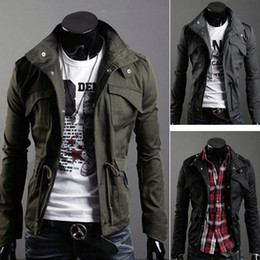 Wholesale 2014 male spring and autumn stand collar slim men s long sleeve jacket outerwear