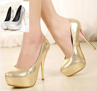 Women Pumps Spring and Fall 2014 New Silver Bride Wedding Shoes gold shiny prom heel Stiletto Heels Shoes 12.5cm Sexy Women Dress Shoes ePacket Free Shipping