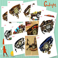 Wholesale DHL style Mix Retro Style Leather bracelets watches Punk bracelets Wristwatch jewelry