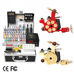 Wholesale 2 Cast Iron Revolver Design Tattoo Gun Kit with LCD Power Color Ink