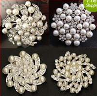 Wholesale 2014 New Different Styles Wedding Bouquet Brooch Silver Rhinestone Flowers Brooches Pins Gift