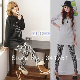 Wholesale Women Zebra Print Skinny Tights Small Feet Stretch Casual Pencil Pants CY0676 Free amp Drop Shipping