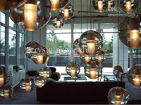 12v Incandescent G4*1 Wholesale - 1 light clear cast glass ball pendant lamp with polished chrome canopy (bulbs included )
